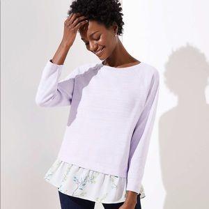 Floral Mixed Media Sweatshirt LOFT size Small